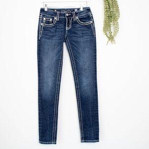 Miss me signature flap skinny indigo jeans 26